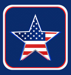 American flag inside star background vector