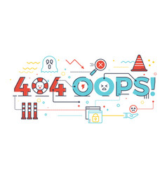 404 oops word for internet website page not found vector
