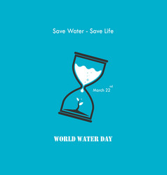 Water drop and sandglass icon with small tree vector