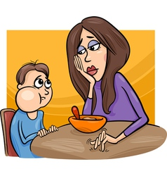 Poor eater boy with mum cartoon vector