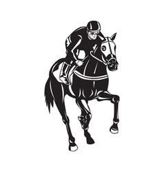 Horse racing equestrian retro woodcut vector