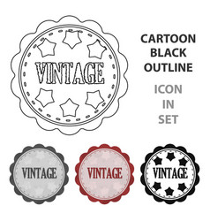 Vintage icon in cartoon style isolated on white vector