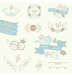 Wedding elements blue vector