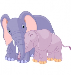 Father elephant and her calf vector