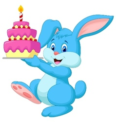 Rabbit cartoon with birthday cake vector