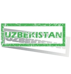 Green outlined uzbekistan stamp vector