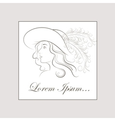hand drawing girl in vintage hat with a vector image