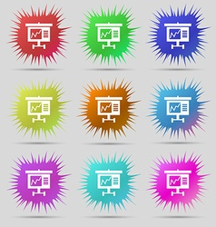 Graph icon sign nine original needle buttons vector