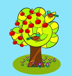 Apple tree and birds vector