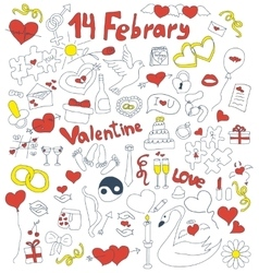 Doodle icons for St Valentines day vector image
