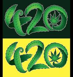 Marijuana leaf symbol and 420 hemp text vector