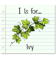 Flashcard alphabet i is for ivy vector