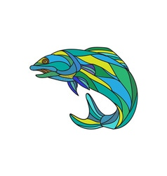 Atlantic Salmon Jumping Drawing vector image vector image