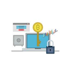 Bitcoin key login closeup with laptop computer and vector