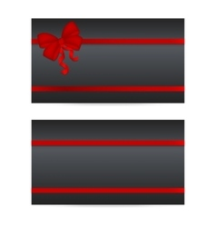 Black gift cards with red ribbons vector image