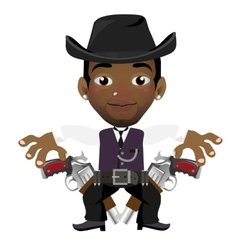 Black man with hat and gun cartoon character vector
