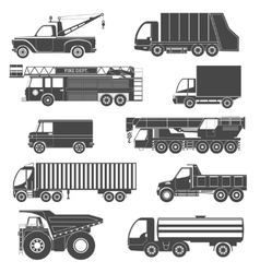 Black silhouettes truck icons vector