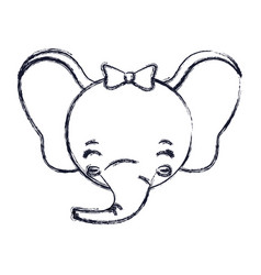 Blurred silhouette face of female elephant animal vector