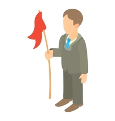 Businessman holding red flag icon cartoon style vector image