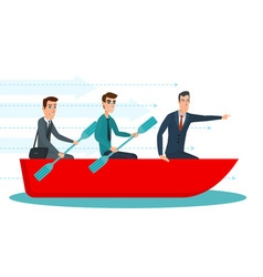 Businessmen workers rowing oars in boat and vector