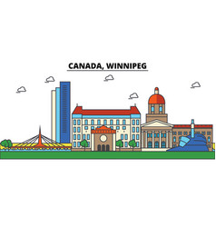 Canada winnipeg city skyline architecture vector