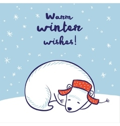 Card with a polar bear in red hat vector image vector image