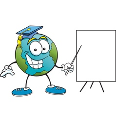 Cartoon Earth with Sign vector image