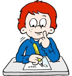 Cartoon of a thoughtful school boy vector