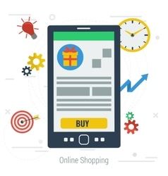Concept mobile online shopping vector