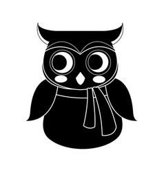 Cute owl wearing scarf icon image vector