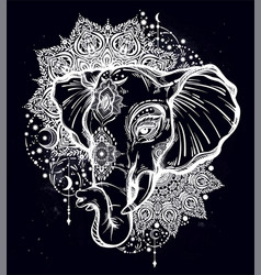 Decorative elephant with tribal mandala ornament vector