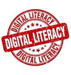 Digital literacy red grunge stamp vector