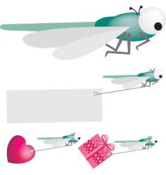 dragonfly set vector image