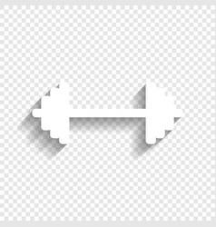 Dumbbell weights sign white icon with vector