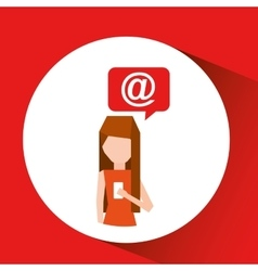 Girl smartphone user mail chat vector