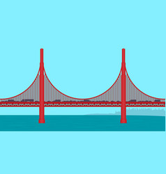 Golden gate bridge flat vector