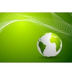 Green background with globe and lines vector image vector image