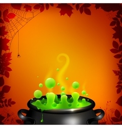 Green potion in black cauldron on orange vector