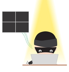 Hacker working on notebook with internet password vector image