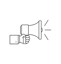 Hand with speaker line icon vector image vector image