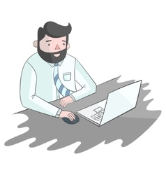Hipster man beard with notebook laptop vector