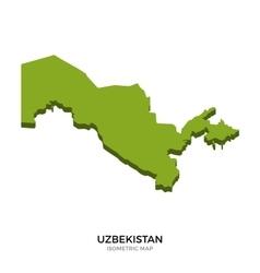 Isometric map of uzbekistan detailed vector