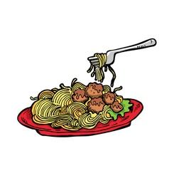 meatballs spaghetti vector image vector image