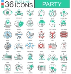 Party club color flat line outline icons vector image vector image