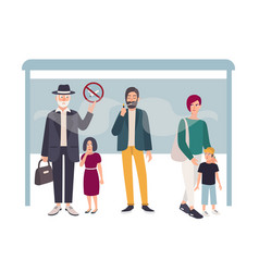 passive smoking concept man smokes at a bus stop vector image