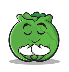Praying cabbage cartoon character style vector