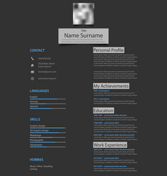 Professional atypical resume cv on dark background vector