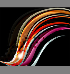 Rainbow color wavy lines on black background vector