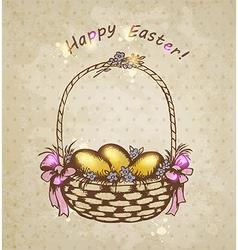 vintage background with Easter basket vector image