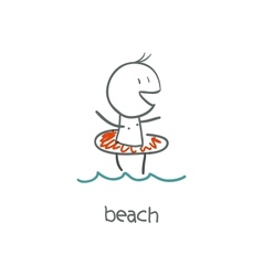 Boy on the beach vector